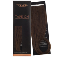 Poze Premium Tape On Hair Extensions - 52g Chocolate Brown 4B - 50cm